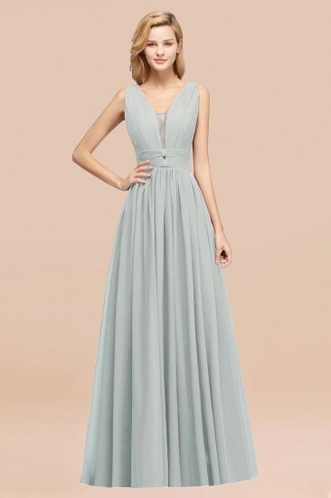 BMbridal Modest Dark Green Long Bridesmaid Dress Deep V-Neck Chiffon Maid of Honor Dress_38