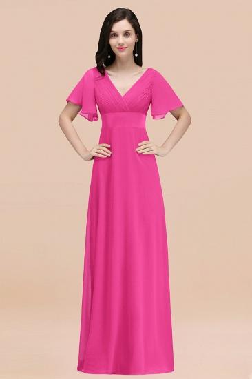 BMbridal Affordable V-Neck Ruffle Long Burgundy Bridesmaid Dress With Short-Sleeves_9