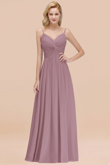 BMbridal Chic V-Neck Pleated Backless Bridesmaid Dresses with Spaghetti Straps_43
