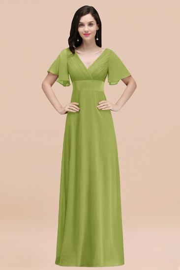 BMbridal Affordable V-Neck Ruffle Long Burgundy Bridesmaid Dress With Short-Sleeves_34