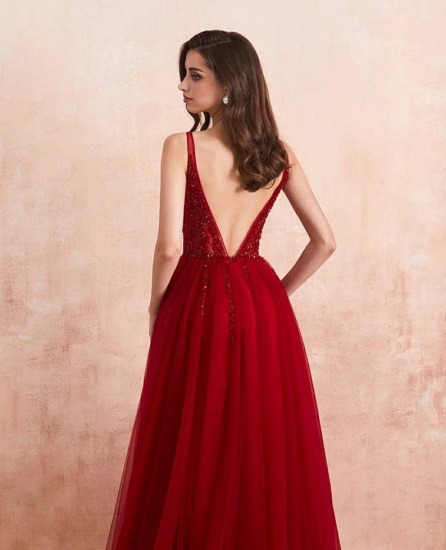 BMbridal Burgundy V-Neck Sleeveless Long Evening Dress With Split Lace Appliques_2