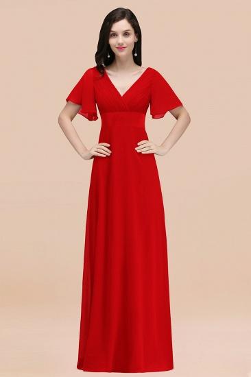 BMbridal Affordable V-Neck Ruffle Long Burgundy Bridesmaid Dress With Short-Sleeves_8