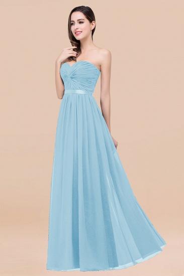BMbridal Affordable Sweetheart Ruffle Navy Chiffon Bridesmaid Dress With Ribbon_23