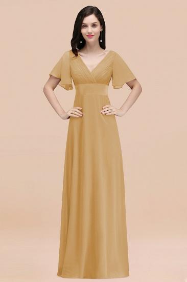 BMbridal Affordable V-Neck Ruffle Long Burgundy Bridesmaid Dress With Short-Sleeves_13