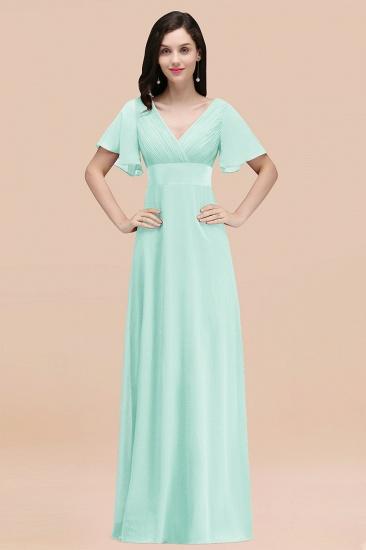 BMbridal Affordable V-Neck Ruffle Long Burgundy Bridesmaid Dress With Short-Sleeves_36