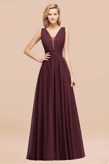 BMbridal Modest Dark Green Long Bridesmaid Dress Deep V-Neck Chiffon Maid of Honor Dress_47
