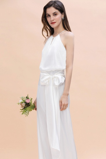 BMbridal Affordable Halter Sleeveless Ivory Charmeuse Bridesmaid Jumpsuit Online_6