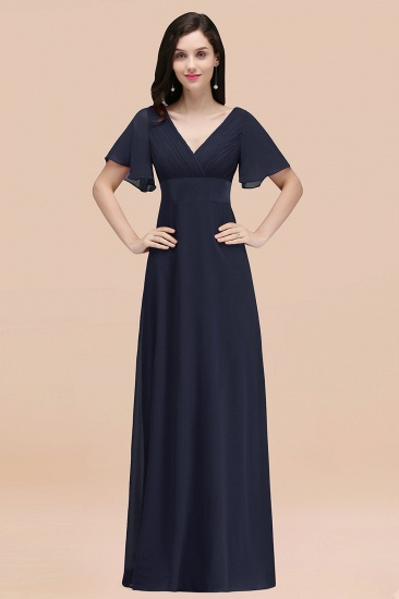 BMbridal Affordable V-Neck Ruffle Long Burgundy Bridesmaid Dress With Short-Sleeves_28