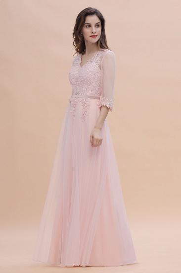 BMbridal Elegant V-neck Half Sleeves Lace Pink Bridesmaid Dress On Sale_6