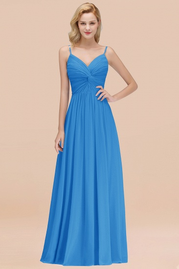BMbridal Chic V-Neck Pleated Backless Bridesmaid Dresses with Spaghetti Straps_25