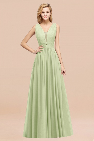 BMbridal Modest Dark Green Long Bridesmaid Dress Deep V-Neck Chiffon Maid of Honor Dress_35