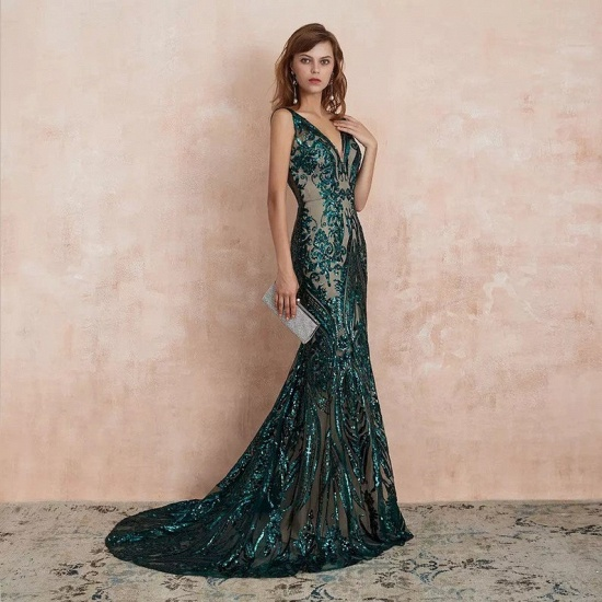 BMbridal Glamorous Green Sequins Mermaid Evening Gowns Long V-Neck Prom Dress On Sale_7