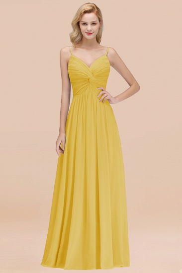 BMbridal Chic V-Neck Pleated Backless Bridesmaid Dresses with Spaghetti Straps_17