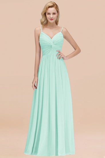 BMbridal Chic V-Neck Pleated Backless Bridesmaid Dresses with Spaghetti Straps_36