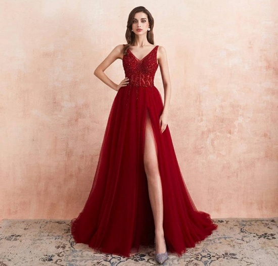 BMbridal Burgundy V-Neck Sleeveless Long Evening Dress With Split Lace Appliques_3