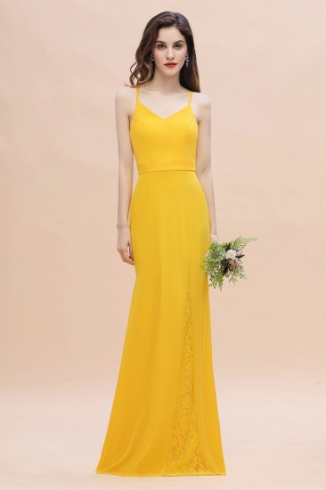 Gorgeous Spaghett Straps V-Neck Chiffon Lace Bridesmaid Dress Online