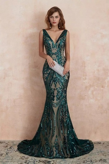 BMbridal Glamorous Green Sequins Mermaid Evening Gowns Long V-Neck Prom Dress On Sale