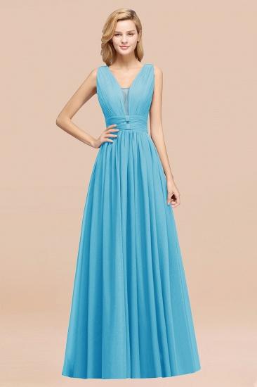 BMbridal Modest Dark Green Long Bridesmaid Dress Deep V-Neck Chiffon Maid of Honor Dress_24