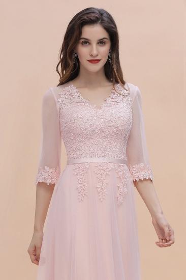 BMbridal Elegant V-neck Half Sleeves Lace Pink Bridesmaid Dress On Sale_8