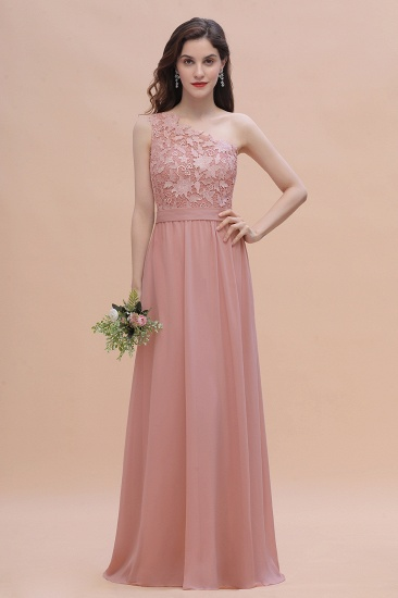 Chic One Shoulder Chiffon Lace Vintage Mauve Bridesmaid Dress On Sale
