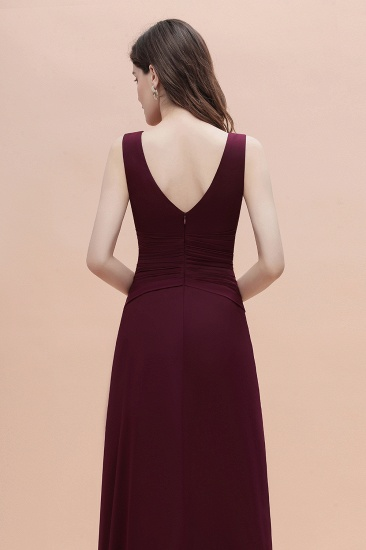 BMbridal Chic Jewel Cabernet Chiffon Ruffles Bridesmaid Dress with Slit On Sale_8