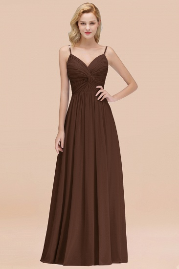 BMbridal Chic V-Neck Pleated Backless Bridesmaid Dresses with Spaghetti Straps_12