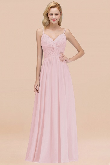 BMbridal Chic V-Neck Pleated Backless Bridesmaid Dresses with Spaghetti Straps_3