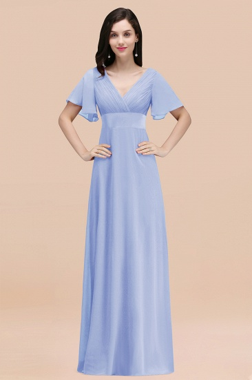 BMbridal Affordable V-Neck Ruffle Long Burgundy Bridesmaid Dress With Short-Sleeves_22