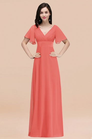 BMbridal Affordable V-Neck Ruffle Long Burgundy Bridesmaid Dress With Short-Sleeves_7