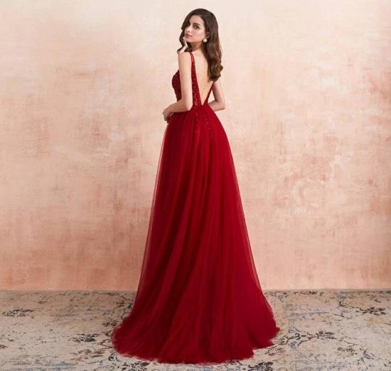 BMbridal Burgundy V-Neck Sleeveless Long Evening Dress With Split Lace Appliques_4