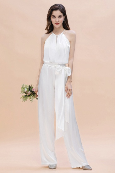 Affordable Halter Sleeveless Ivory Charmeuse Bridesmaid Jumpsuit Online