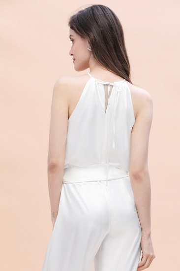 BMbridal Affordable Halter Sleeveless Ivory Charmeuse Bridesmaid Jumpsuit Online_8