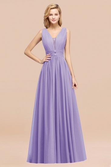 BMbridal Modest Dark Green Long Bridesmaid Dress Deep V-Neck Chiffon Maid of Honor Dress_21