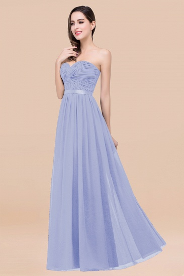 BMbridal Affordable Sweetheart Ruffle Navy Chiffon Bridesmaid Dress With Ribbon_22