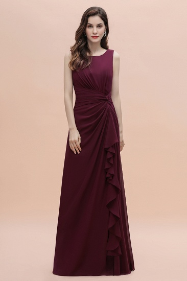 BMbridal Chic Jewel Cabernet Chiffon Ruffles Bridesmaid Dress with Slit On Sale_4