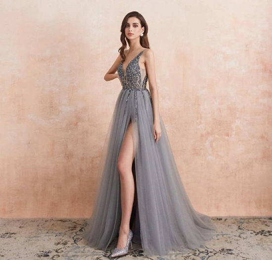 BMbridal Charming V-Neck Tulle Prom Dress Long Evening Party Gowns With Lace Appliques_2