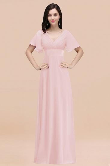 BMbridal Affordable V-Neck Ruffle Long Burgundy Bridesmaid Dress With Short-Sleeves_3