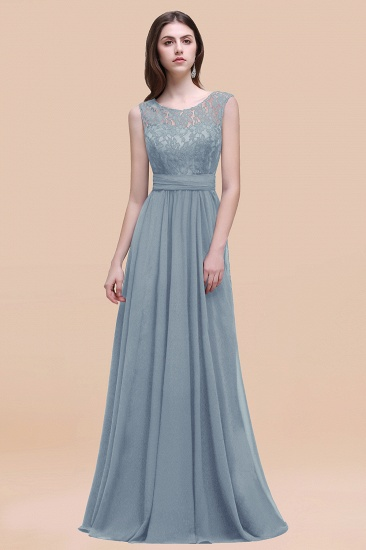 BMbridal Vintage Lace Scoop Sleeveless Dark Blue Bridesmaid Dress with V-Back_40