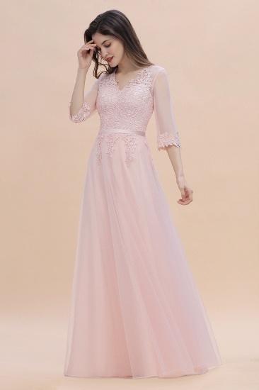 BMbridal Elegant V-neck Half Sleeves Lace Pink Bridesmaid Dress On Sale_4