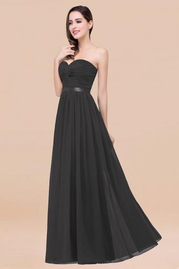 BMbridal Affordable Sweetheart Ruffle Navy Chiffon Bridesmaid Dress With Ribbon_46