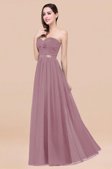 BMbridal Affordable Sweetheart Ruffle Navy Chiffon Bridesmaid Dress With Ribbon_43
