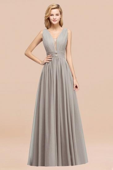 BMbridal Modest Dark Green Long Bridesmaid Dress Deep V-Neck Chiffon Maid of Honor Dress_30
