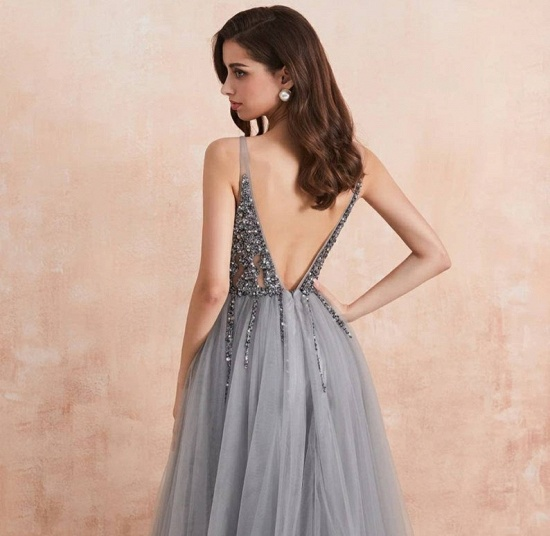 BMbridal Charming V-Neck Tulle Prom Dress Long Evening Party Gowns With Lace Appliques_3