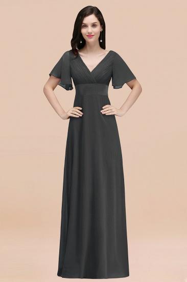 BMbridal Affordable V-Neck Ruffle Long Burgundy Bridesmaid Dress With Short-Sleeves_46