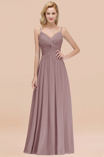 BMbridal Chic V-Neck Pleated Backless Bridesmaid Dresses with Spaghetti Straps_37