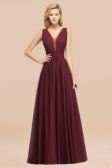 BMbridal Modest Dark Green Long Bridesmaid Dress Deep V-Neck Chiffon Maid of Honor Dress_51
