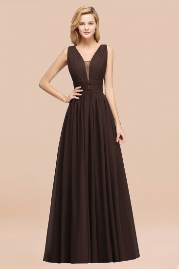 BMbridal Modest Dark Green Long Bridesmaid Dress Deep V-Neck Chiffon Maid of Honor Dress_11