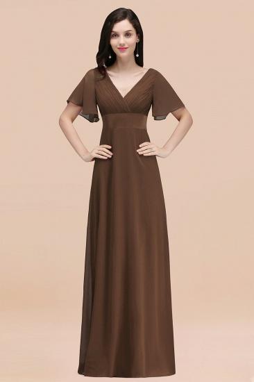 BMbridal Affordable V-Neck Ruffle Long Burgundy Bridesmaid Dress With Short-Sleeves_12