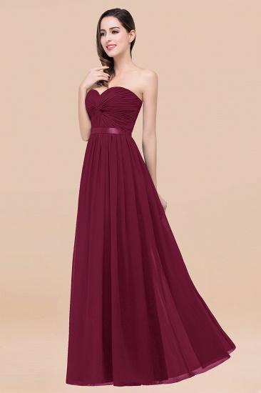 BMbridal Affordable Sweetheart Ruffle Navy Chiffon Bridesmaid Dress With Ribbon_44