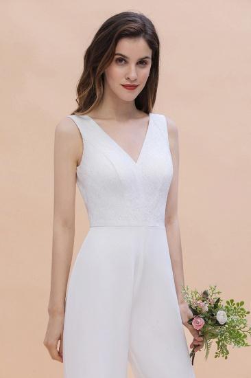 BMbridal Stylish V-neck Sleeveless White Lace Bridesmaid Jumpsuit Online_9